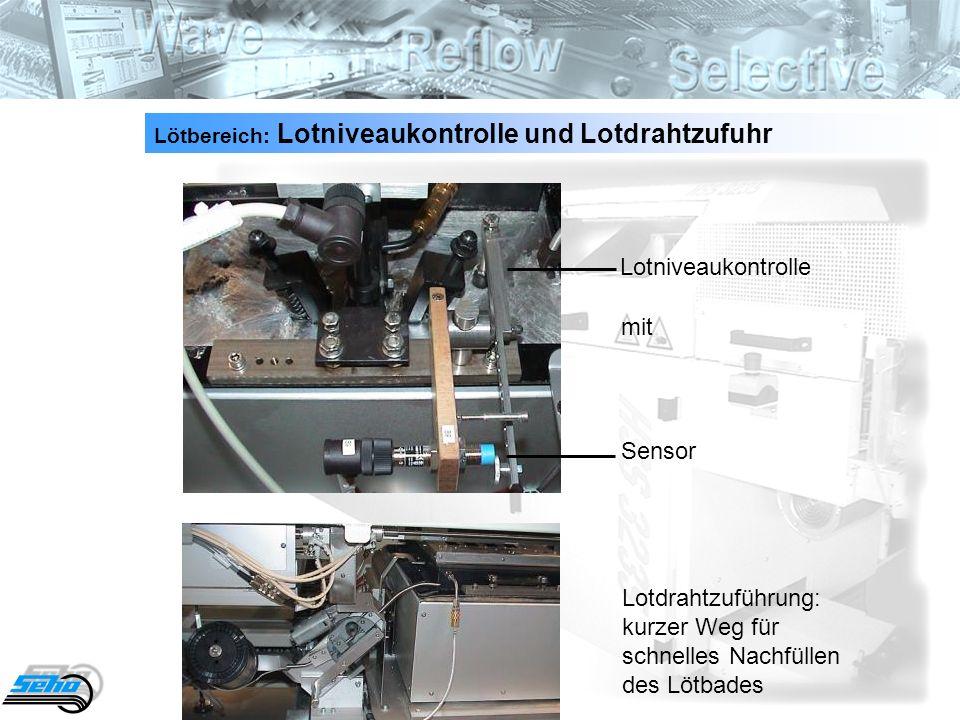Lötbereich: Lotniveaukontrolle und Lotdrahtzufuhr