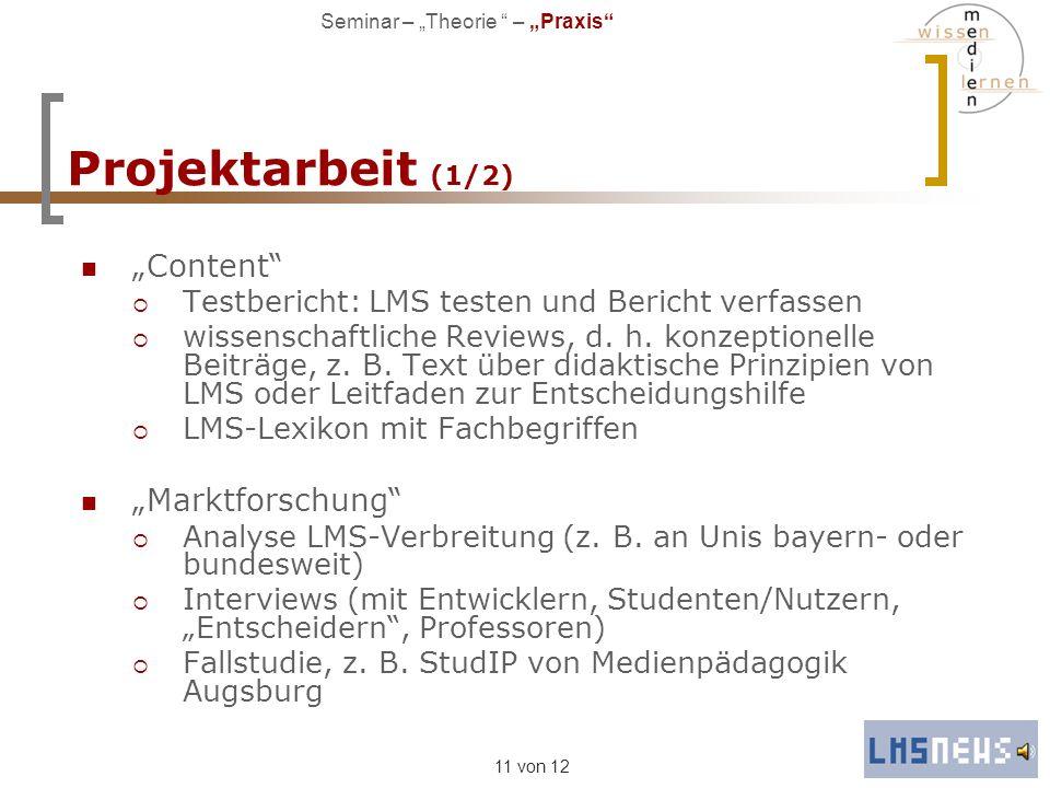 "Projektarbeit (1/2) ""Content ""Marktforschung"