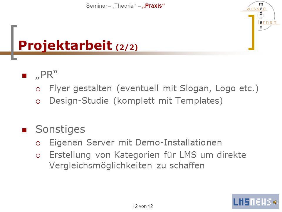 """Projektarbeit (2/2) """"PR Sonstiges"""