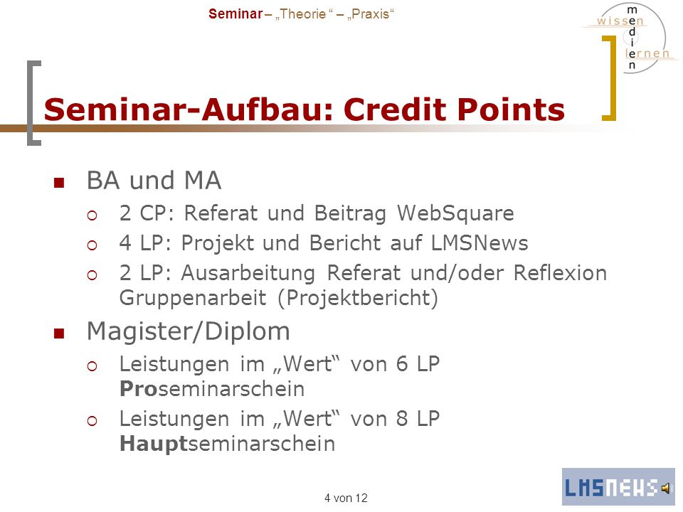 Seminar-Aufbau: Credit Points