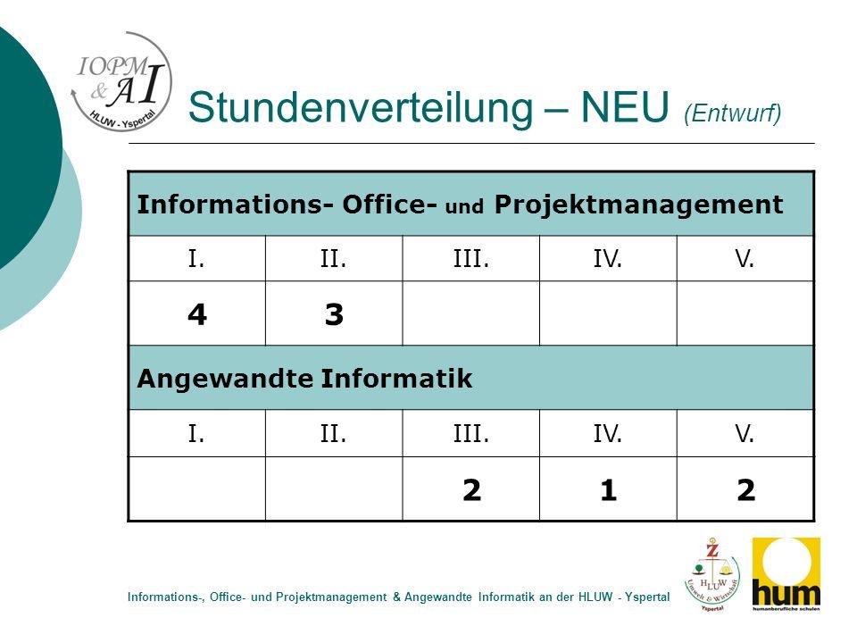 Stundenverteilung – NEU (Entwurf)
