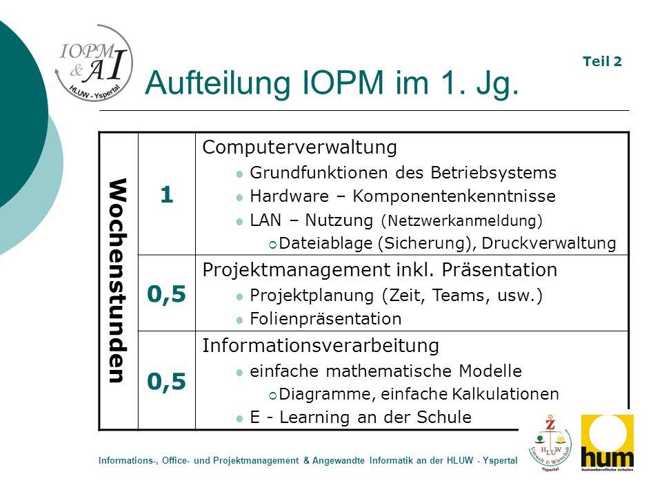 Aufteilung IOPM im 1. Jg. 1 Wochenstunden 0,5 Computerverwaltung