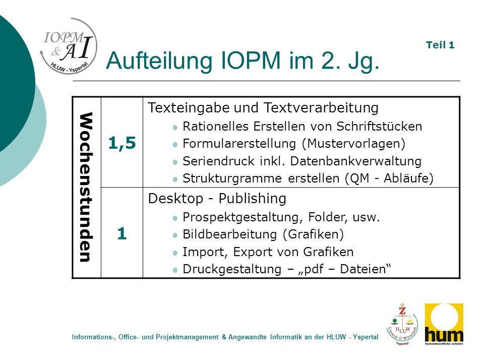 Aufteilung IOPM im 2. Jg. 1,5 Wochenstunden 1