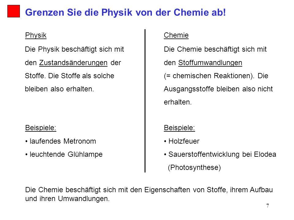 Grenzen Sie die Physik von der Chemie ab!
