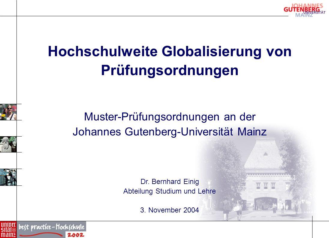 Hochschulweite Globalisierung von Prüfungsordnungen