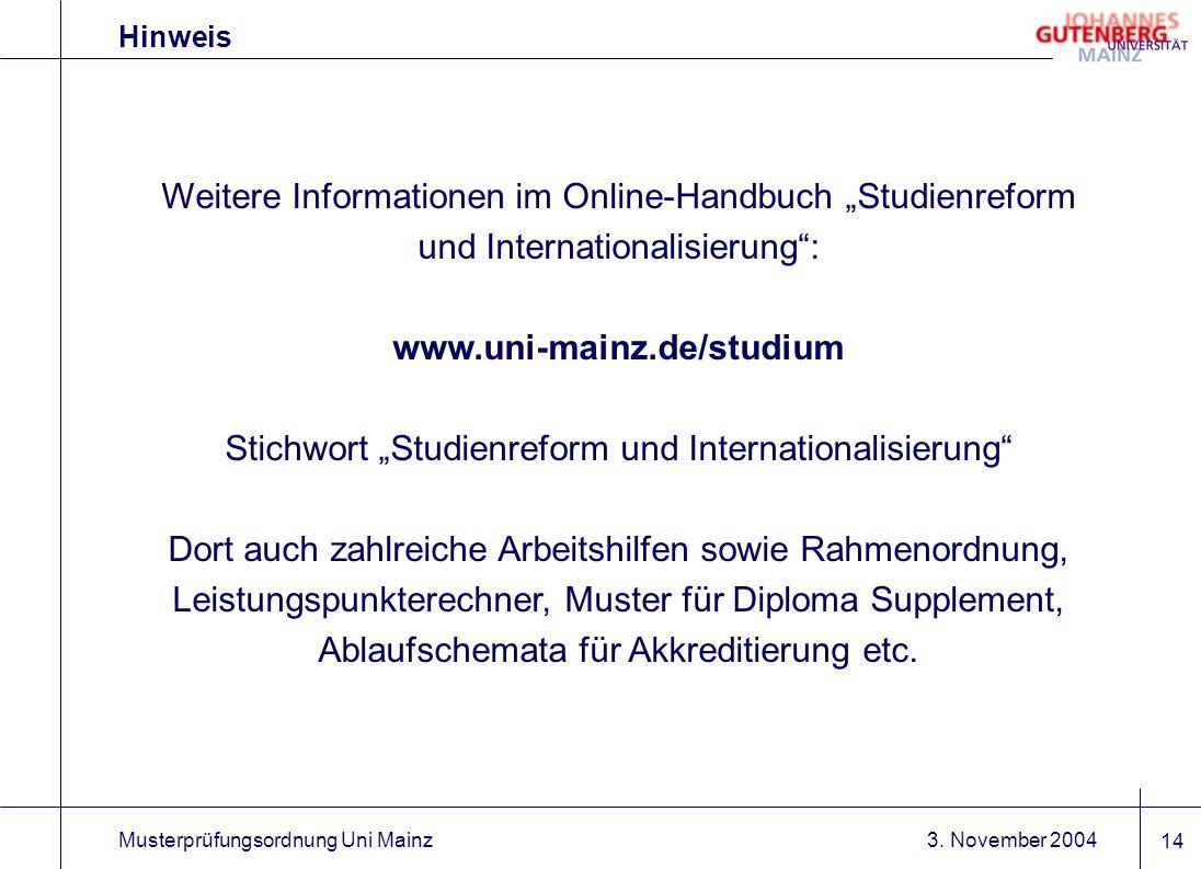"""Stichwort """"Studienreform und Internationalisierung"""