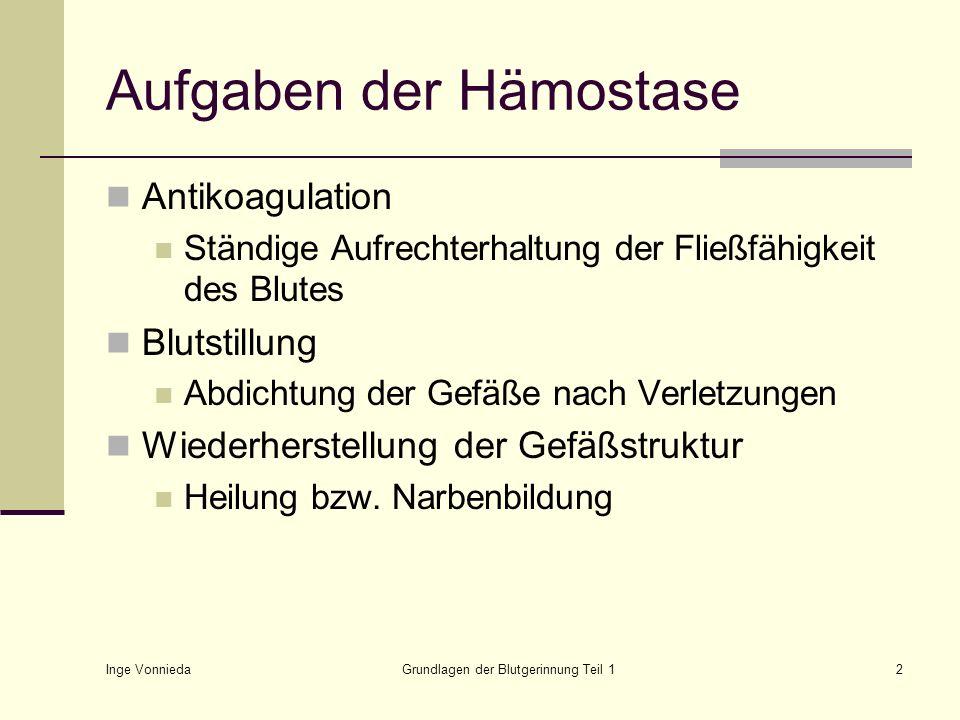 Aufgaben der Hämostase
