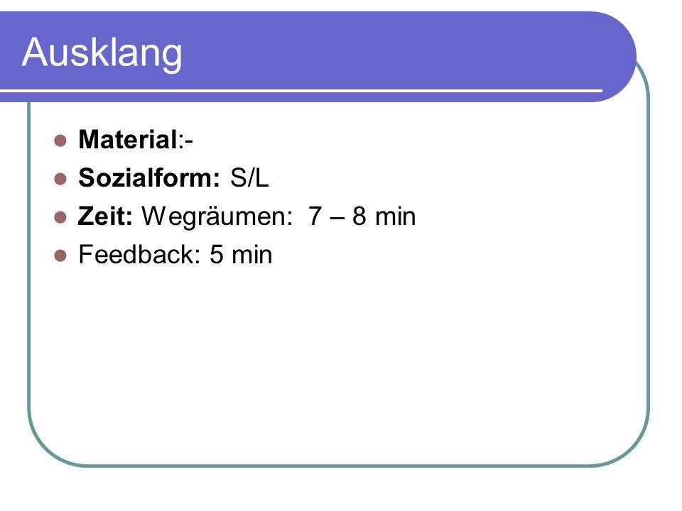 Ausklang Material:- Sozialform: S/L Zeit: Wegräumen: 7 – 8 min