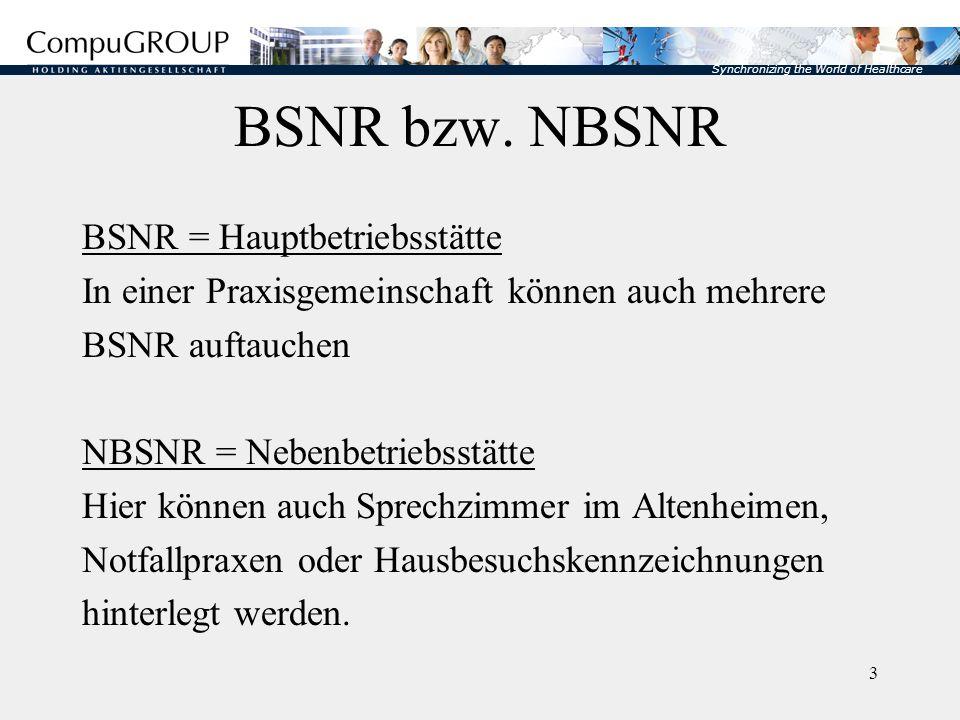 BSNR bzw. NBSNR BSNR = Hauptbetriebsstätte
