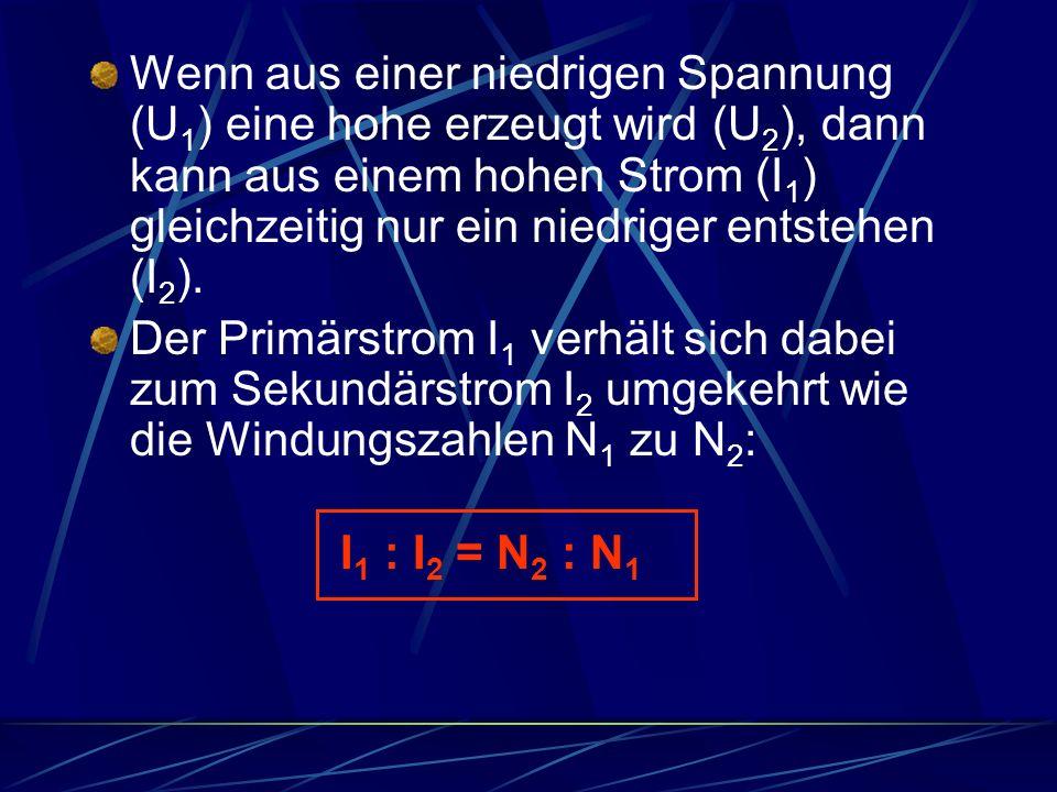 Wenn aus einer niedrigen Spannung (U1) eine hohe erzeugt wird (U2), dann kann aus einem hohen Strom (I1) gleichzeitig nur ein niedriger entstehen (I2).