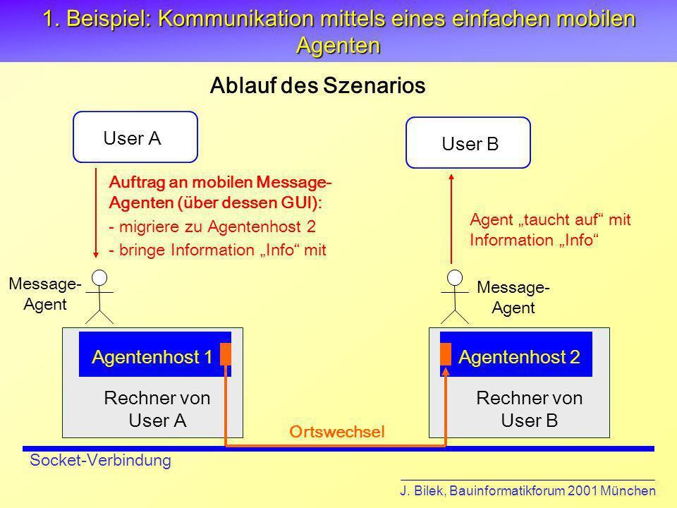 1. Beispiel: Kommunikation mittels eines einfachen mobilen Agenten