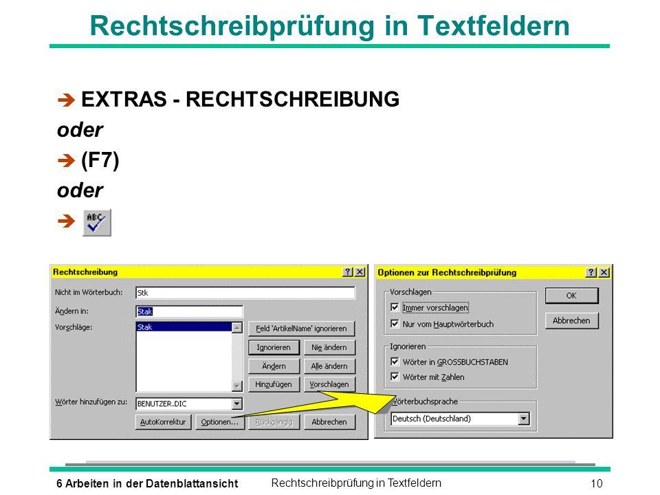 Rechtschreibprüfung in Textfeldern