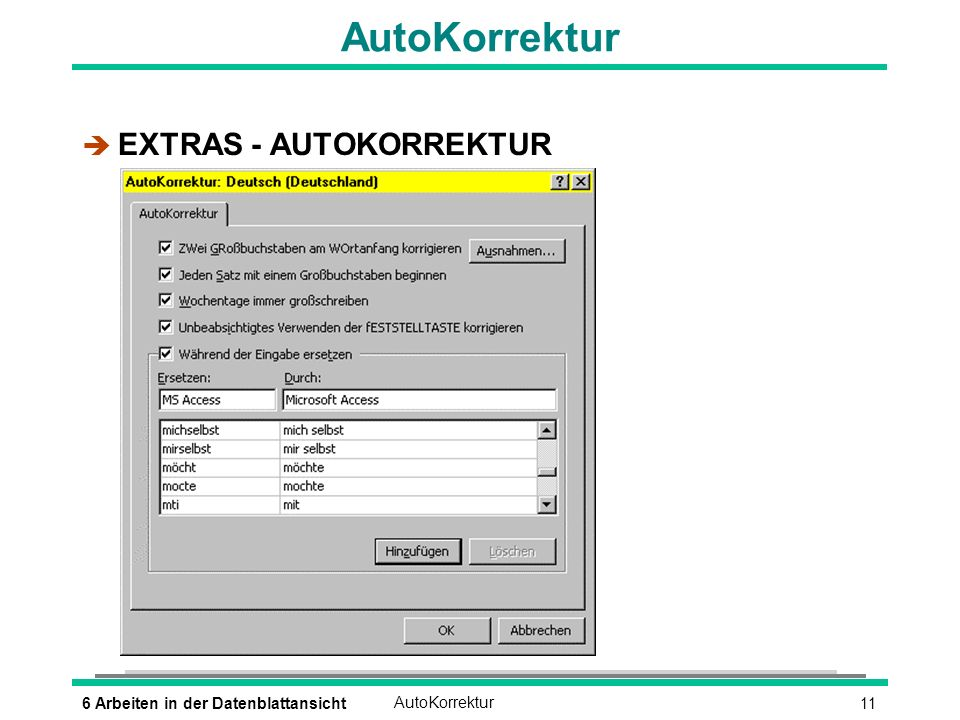AutoKorrektur EXTRAS - AUTOKORREKTUR