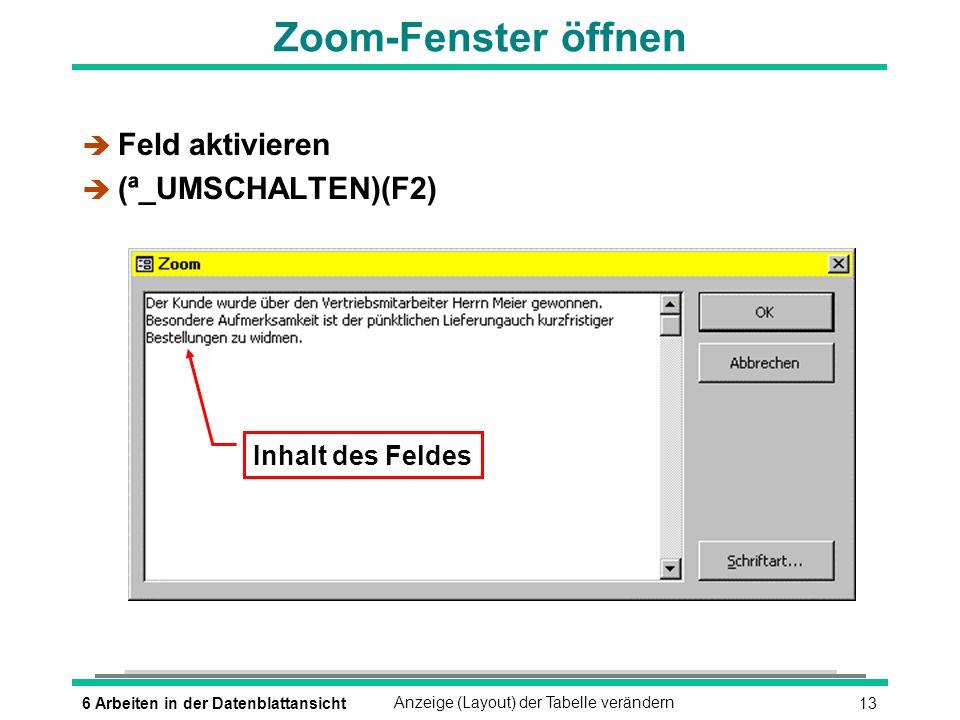 Zoom-Fenster öffnen Feld aktivieren (ª_UMSCHALTEN)(F2)