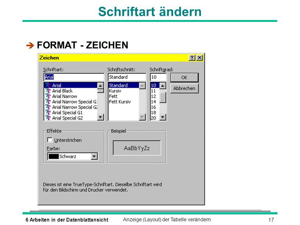 Schriftart ändern FORMAT - ZEICHEN 6 Arbeiten in der Datenblattansicht