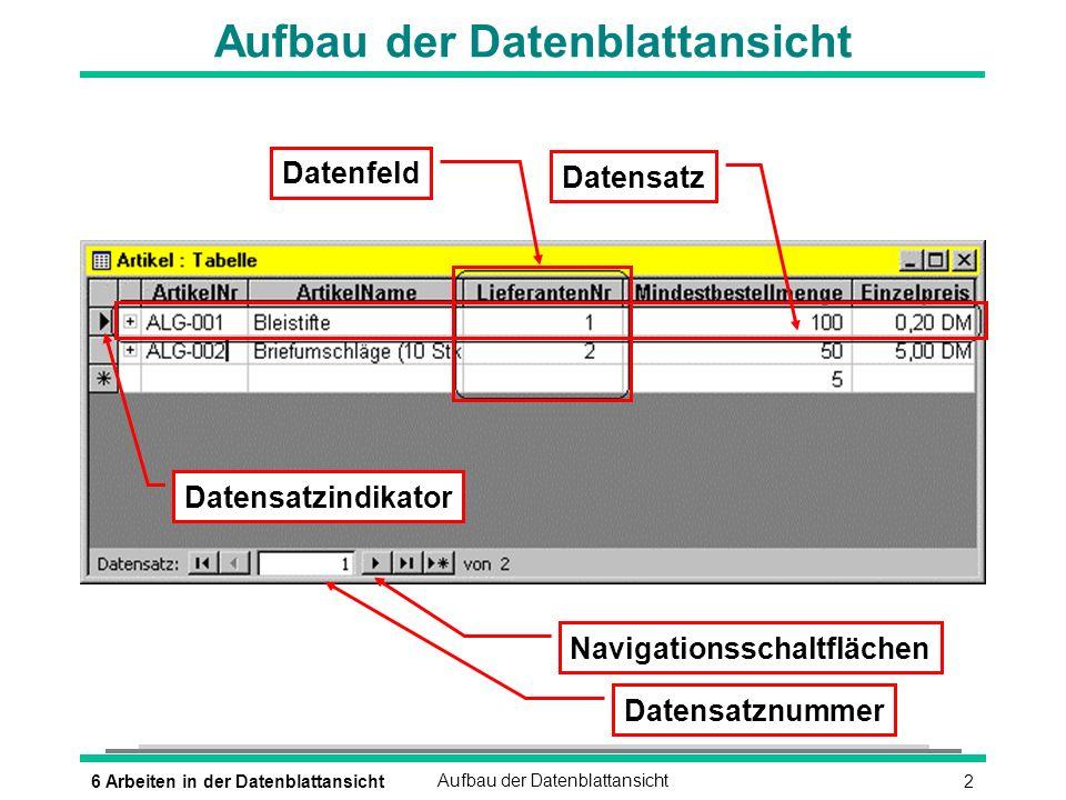 Aufbau der Datenblattansicht
