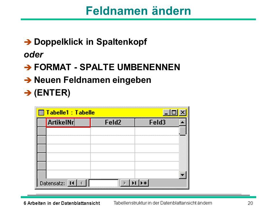 Feldnamen ändern Doppelklick in Spaltenkopf oder