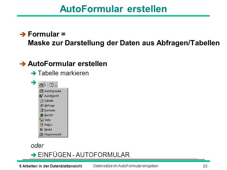 AutoFormular erstellen