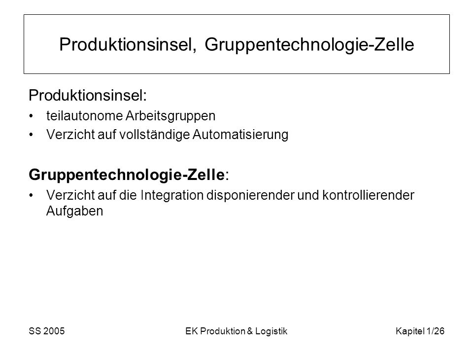 Produktionsinsel, Gruppentechnologie-Zelle