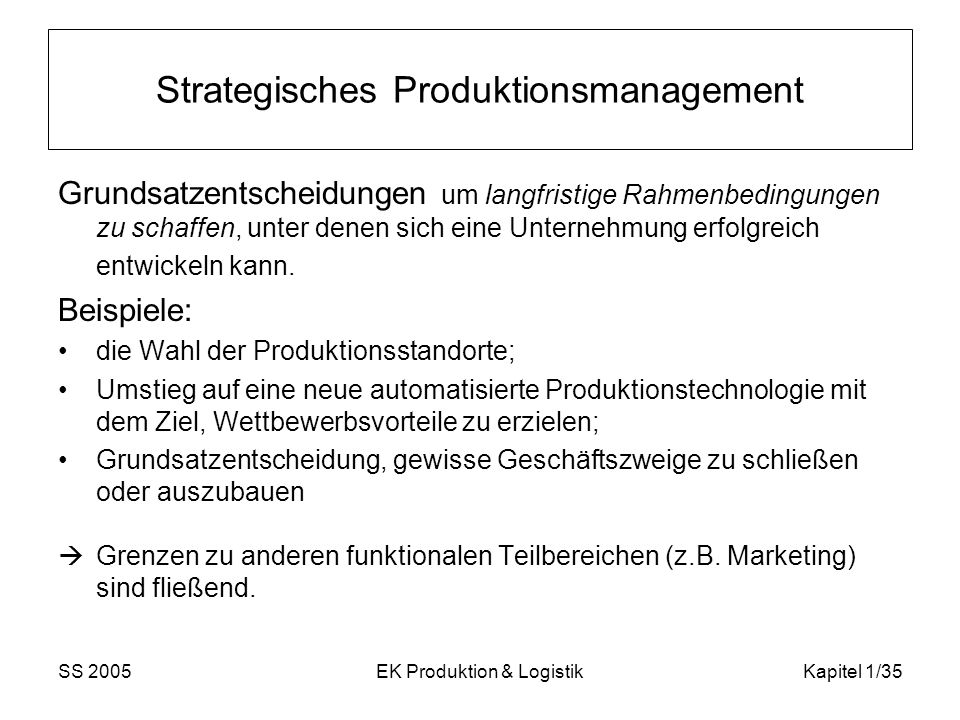 Strategisches Produktionsmanagement