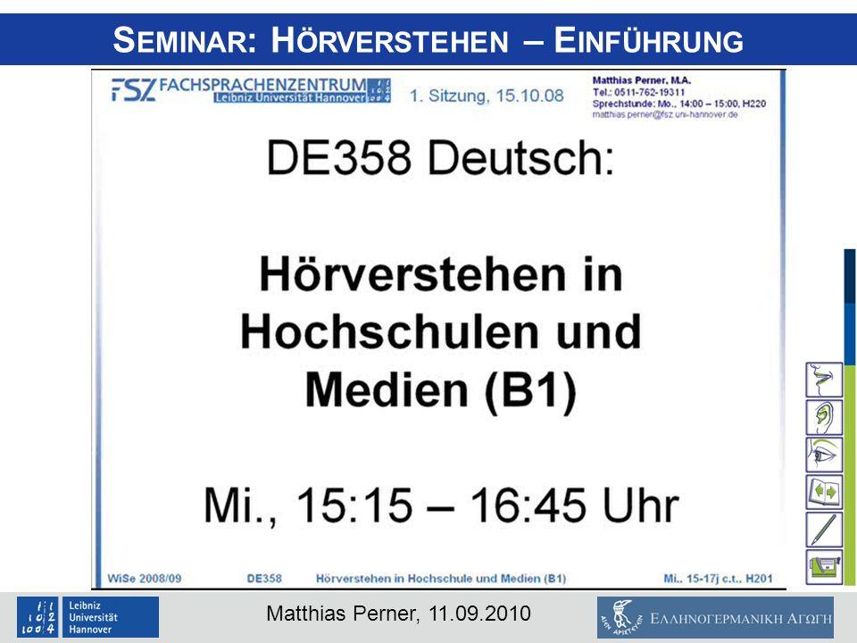 Seminar: Hörverstehen – Einführung