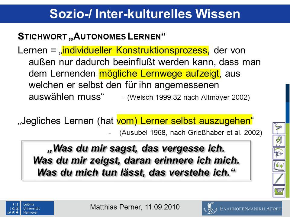 """Sozio-/ Inter-kulturelles Wissen """"Was du mir sagst, das vergesse ich."""