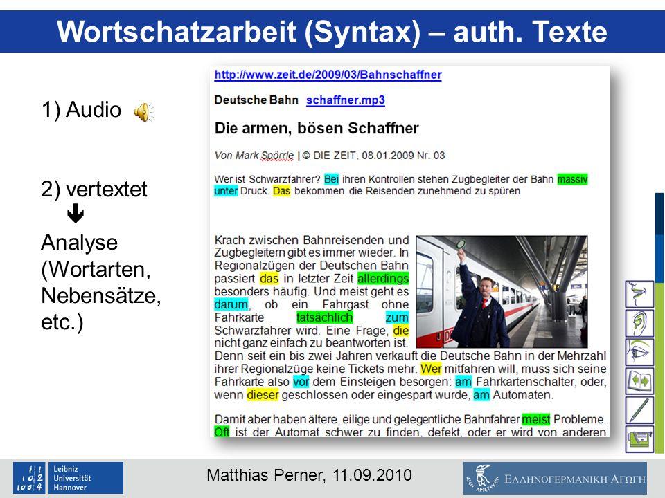 Wortschatzarbeit (Syntax) – auth. Texte