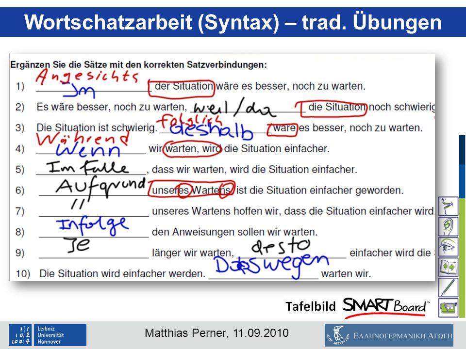 Wortschatzarbeit (Syntax) – trad. Übungen