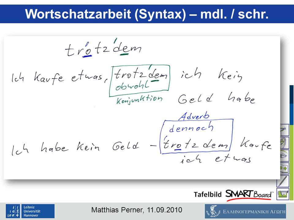 Wortschatzarbeit (Syntax) – mdl. / schr.