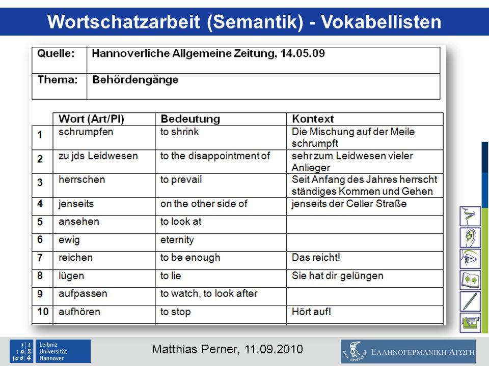 Wortschatzarbeit (Semantik) - Vokabellisten