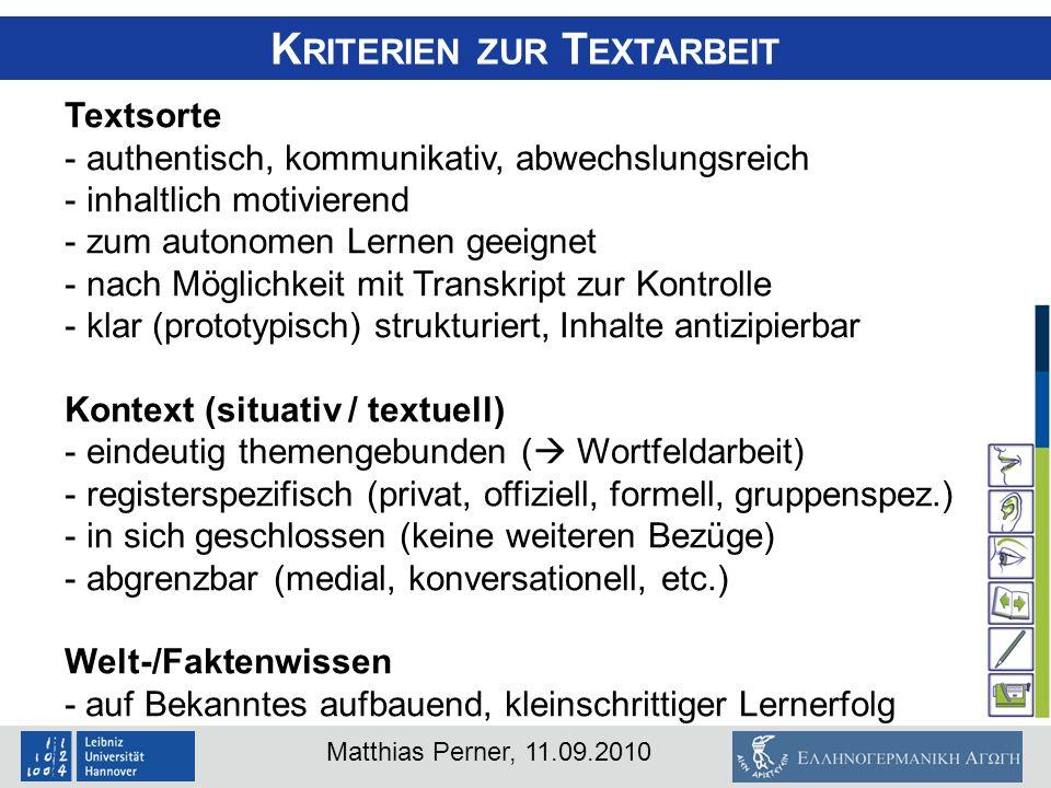 Kriterien zur Textarbeit