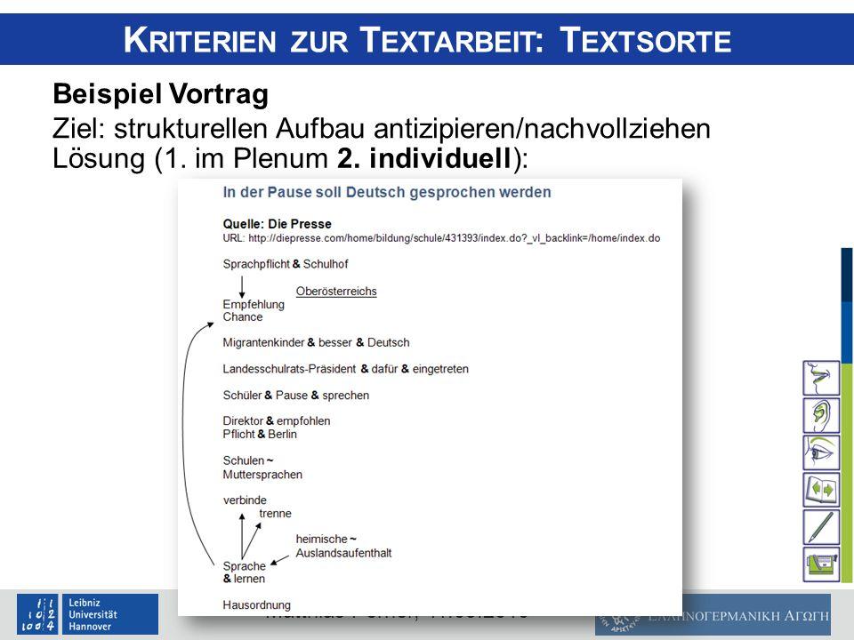 Kriterien zur Textarbeit: Textsorte