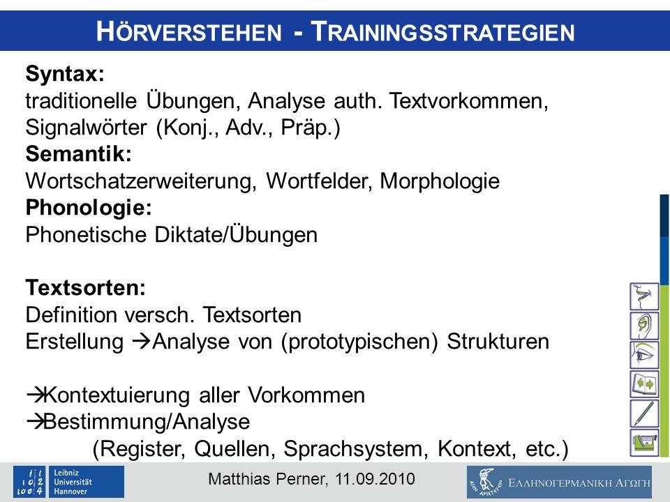 Hörverstehen - Trainingsstrategien