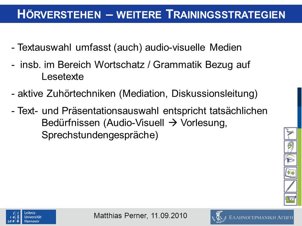 Hörverstehen – weitere Trainingsstrategien