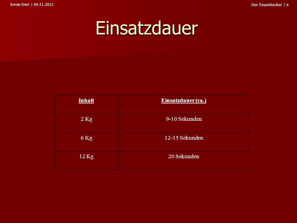 Einsatzdauer Inhalt Einsatzdauer (ca.) 2 Kg 9-10 Sekunden 6 Kg