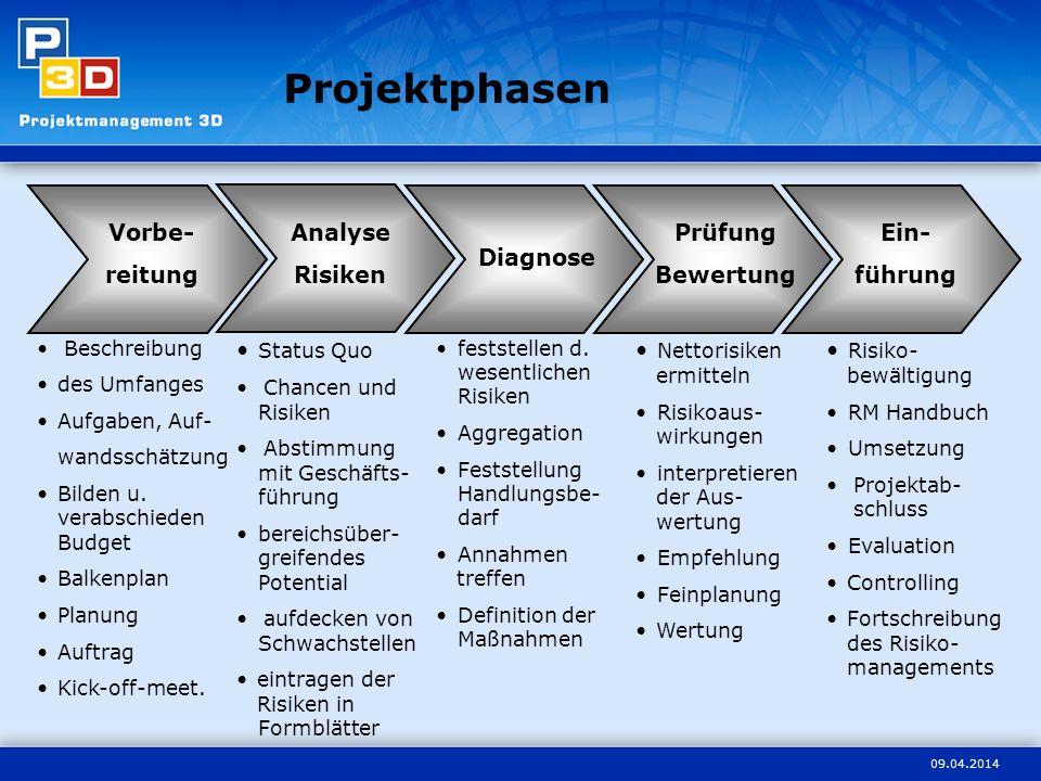 Projektphasen Vorbe- reitung Analyse Risiken Prüfung Bewertung Ein-