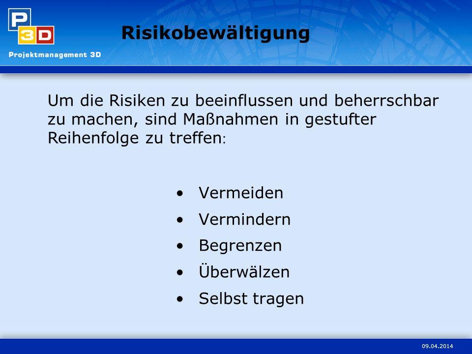 Risikobewältigung Um die Risiken zu beeinflussen und beherrschbar zu machen, sind Maßnahmen in gestufter Reihenfolge zu treffen: