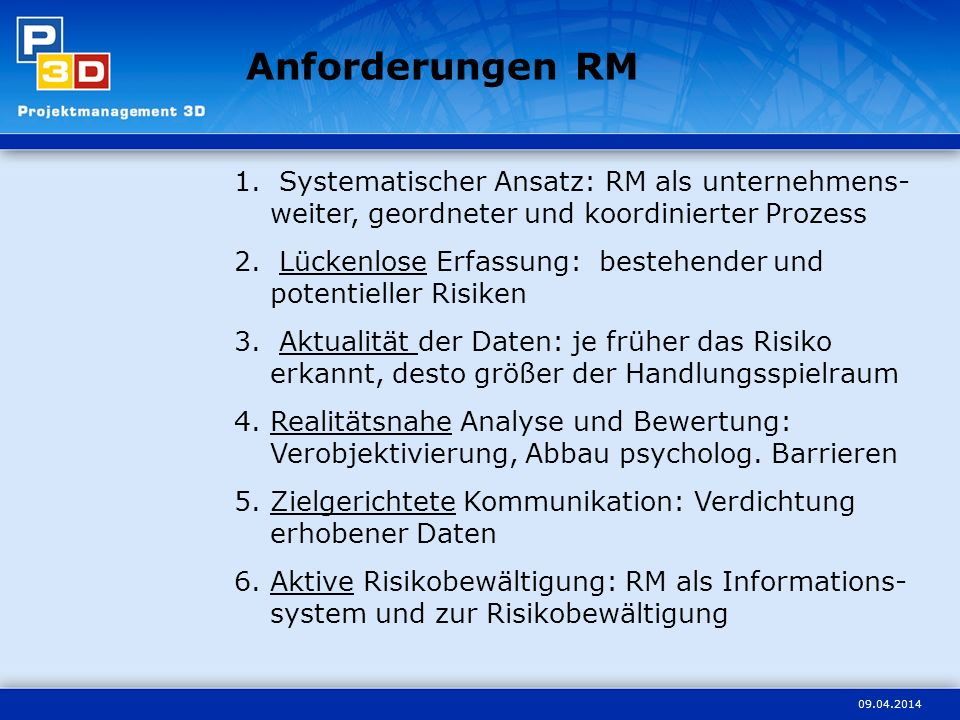 Anforderungen RM Systematischer Ansatz: RM als unternehmens-weiter, geordneter und koordinierter Prozess.