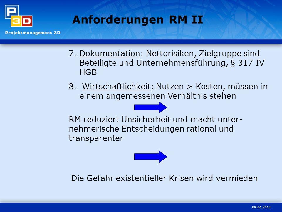 Anforderungen RM II Dokumentation: Nettorisiken, Zielgruppe sind Beteiligte und Unternehmensführung, § 317 IV HGB.