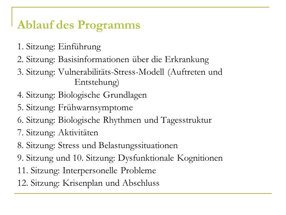 Ablauf des Programms 1. Sitzung: Einführung