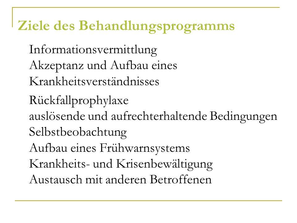 Ziele des Behandlungsprogramms Informationsvermittlung Akzeptanz und Aufbau eines Krankheitsverständnisses