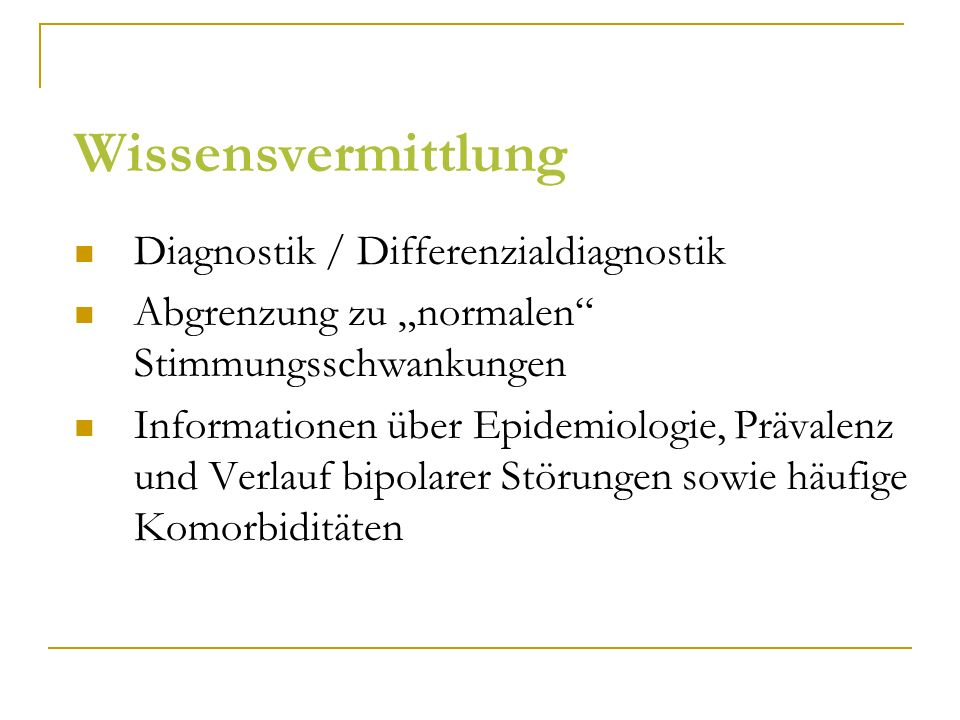 Wissensvermittlung Diagnostik / Differenzialdiagnostik