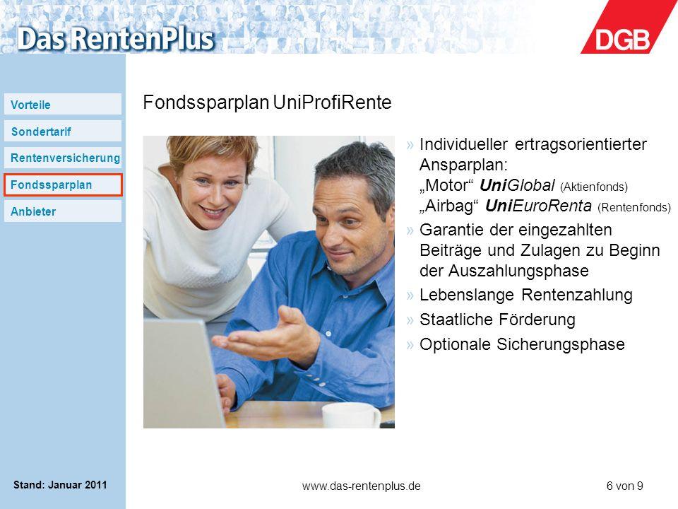 Fondssparplan UniProfiRente