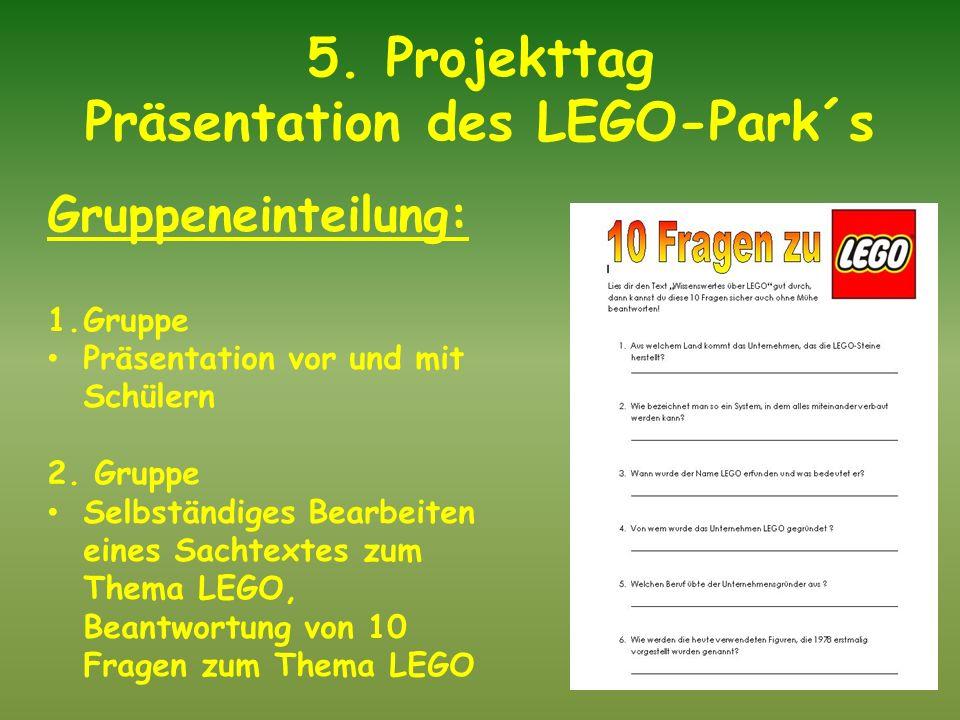5. Projekttag Präsentation des LEGO-Park´s