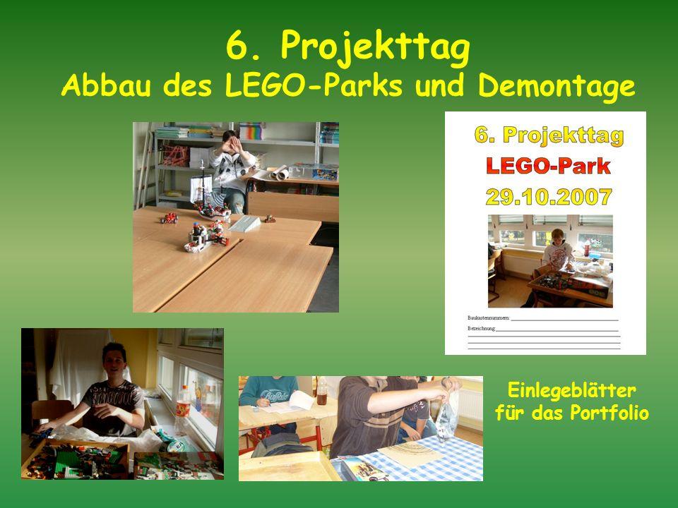 6. Projekttag Abbau des LEGO-Parks und Demontage
