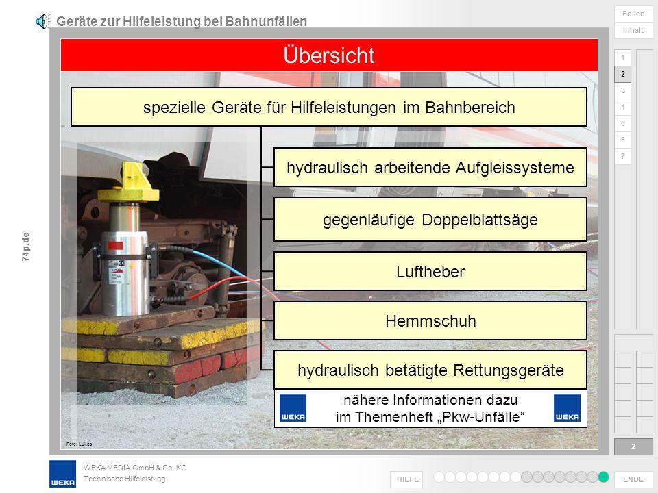 Geräte zur Hilfeleistung bei Bahnunfällen