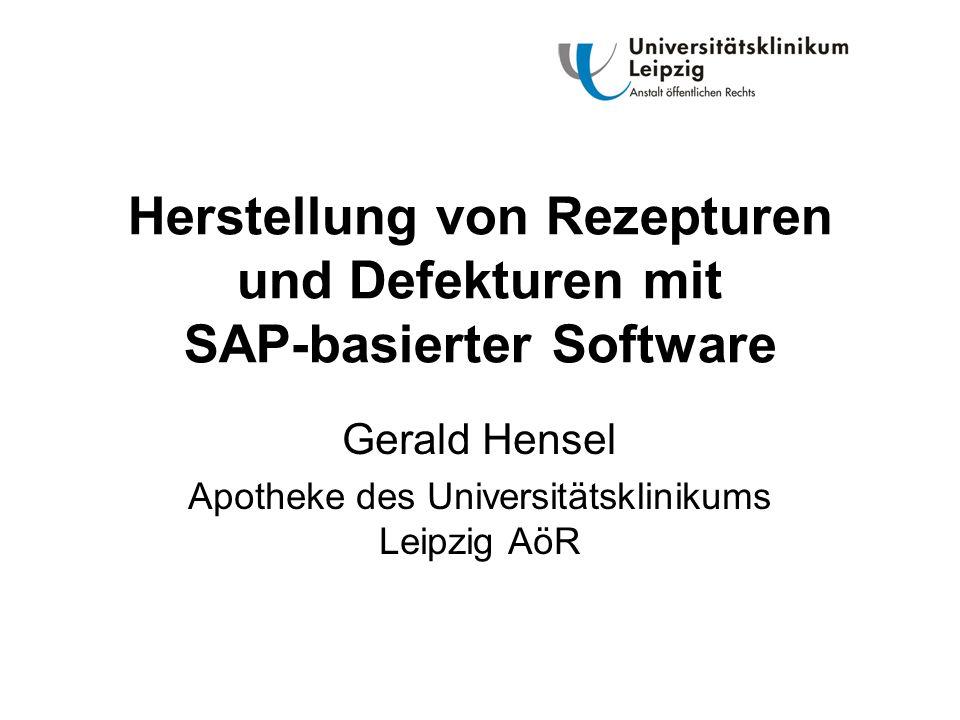 Herstellung von Rezepturen und Defekturen mit SAP-basierter Software