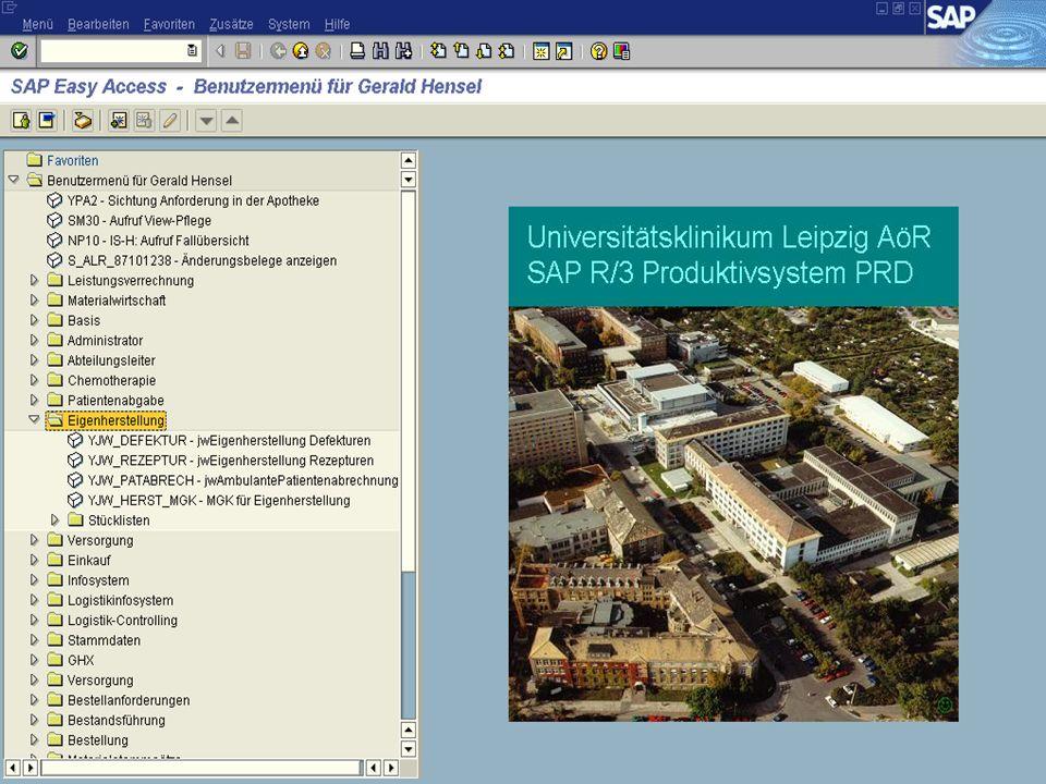 Genau wie die Zytostaikazubereitung hat auch die Eigenherstellung ihren festen Platz im SAP-Menü.