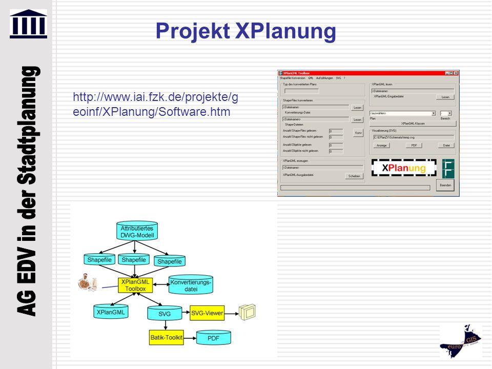 Projekt XPlanung http://www.iai.fzk.de/projekte/geoinf/XPlanung/Software.htm
