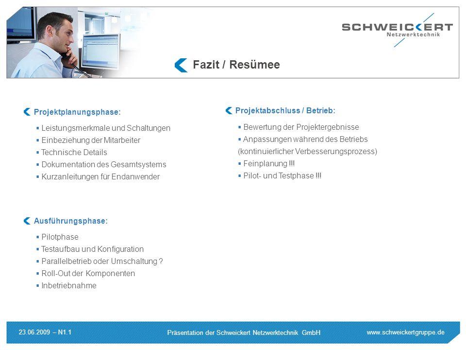 Fazit / Resümee Projektplanungsphase: Projektabschluss / Betrieb: